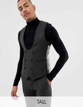 Twisted Tailor super skinny waistcoat in charcoal donegal tweed