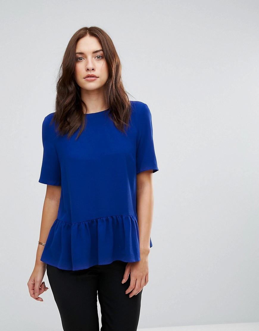 Product photo of Y a s citrulla peplum top cobalt