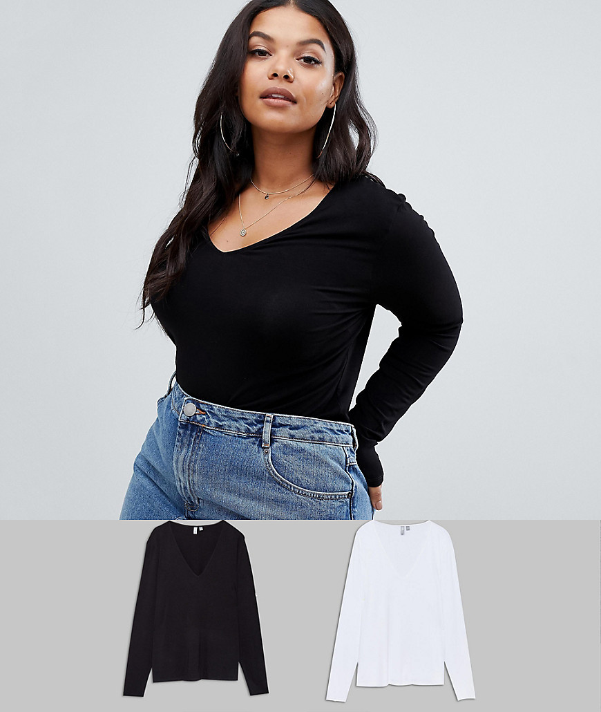 ASOS DESIGN Curve Ultimate Top with Long Sleeve and V-Neck 2 Pack - Black/white