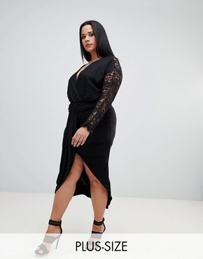 PrettyLittleThing plus slinky wrap skirt in black