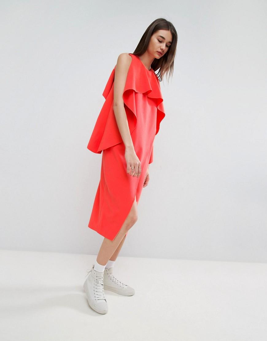 ASOS WHITE Cross Wrap Midi Dress With Bonded Frill Neckline