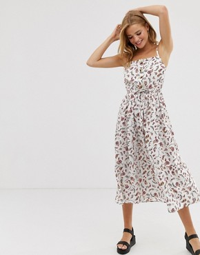 Influence midi dress with tiers in ditsy floral print