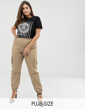 PrettyLittleThing Plus exclusive plus pocket detail cargo trousers in stone
