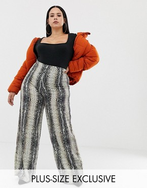 PrettyLittleThing Plus exclusive plus wide leg trouser in snake print