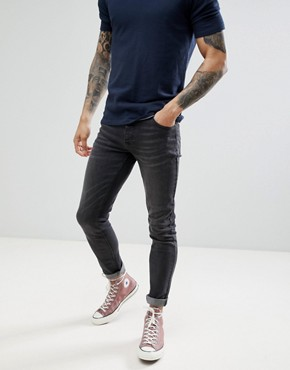 Saints Row Slim Fit Jeans in Washed Black - Black