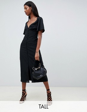 Fashion Union tall maxi dress with flutter sleeves - Black