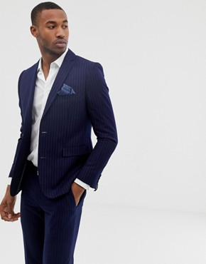 Harry Brown mid-blue chalk pinstripe slim fit jacket