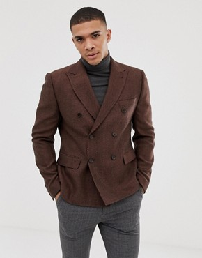 ASOS DESIGN slim cropped herringbone wool mix blazer in rust