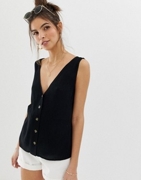 ASOS DESIGN button through vest in crinkle