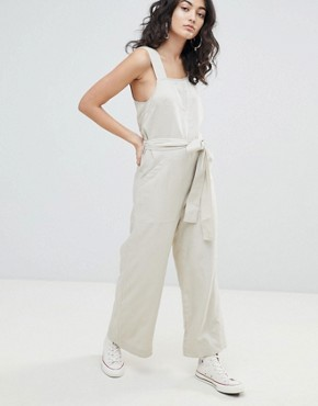 Weekday Wide Leg Jumpsuit with Tie Waist - Off white