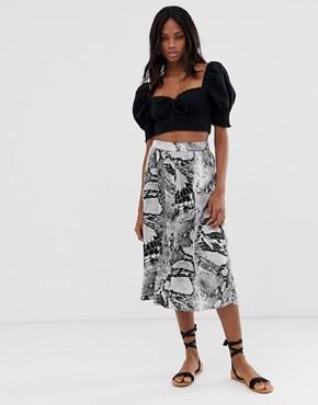 b.Young snake print bias midi skirt