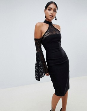 Vesper high neck long sleeve lace dress - Black