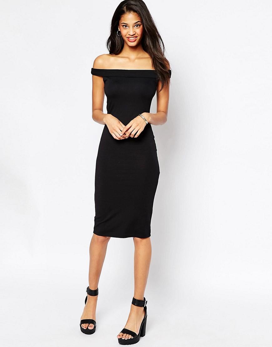 Облегающее платье миди с открытыми плечами ASOS - Черный