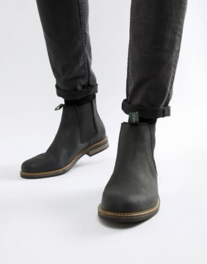 Barbour Farsley leather chelsea boots in black - Bk11