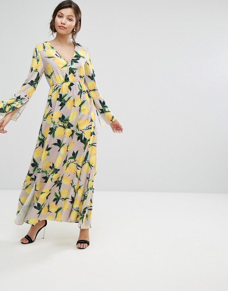 Aeryne Maxi Dress with Split in Allover Lemon Print