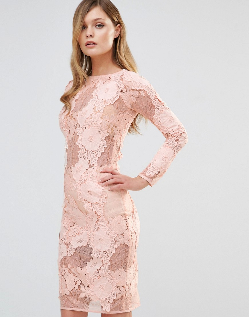 Dark Pink Long Sleeved Lace Midi Dress
