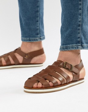 Frank Wright Strap Sandals In Tan - Tan