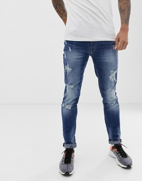Blend echo skinny fit jean in mid blue wash