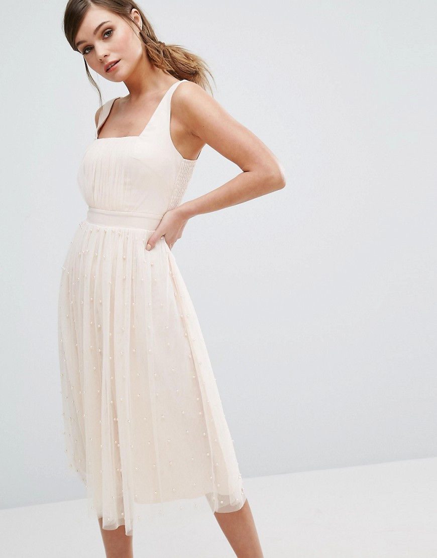 Little Mistress Midi Dress with Tulle Skirt with Pearl Embellishment