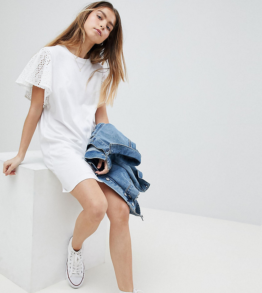 Product photo of Asos petite tshirt dress with broderie sleeves white