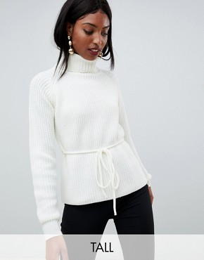 Fashion Union Tall Roll Neck Jumper With Waist Tie - Cream