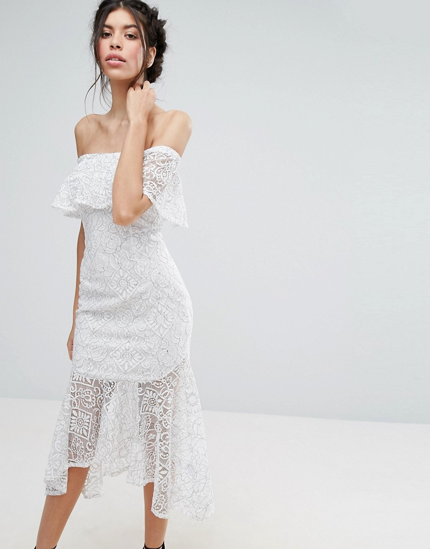 Love Triangle Lace Bardot Midi Dress With Peplum Hem