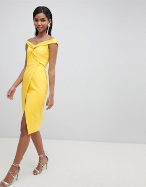 Lavish Alice twisted off the shoulder wrap midi dress - Yellow