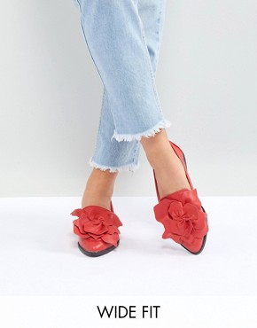 Lost Ink Wide Fit Red Flower Trim Flat Shoes - Bright red