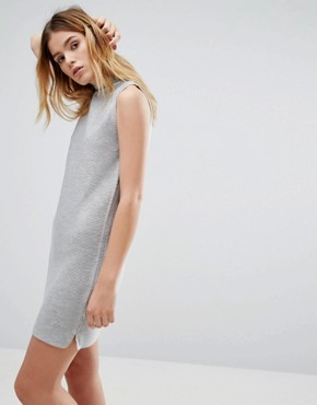 Native Youth Rib Effect Knitted Dress - Grey