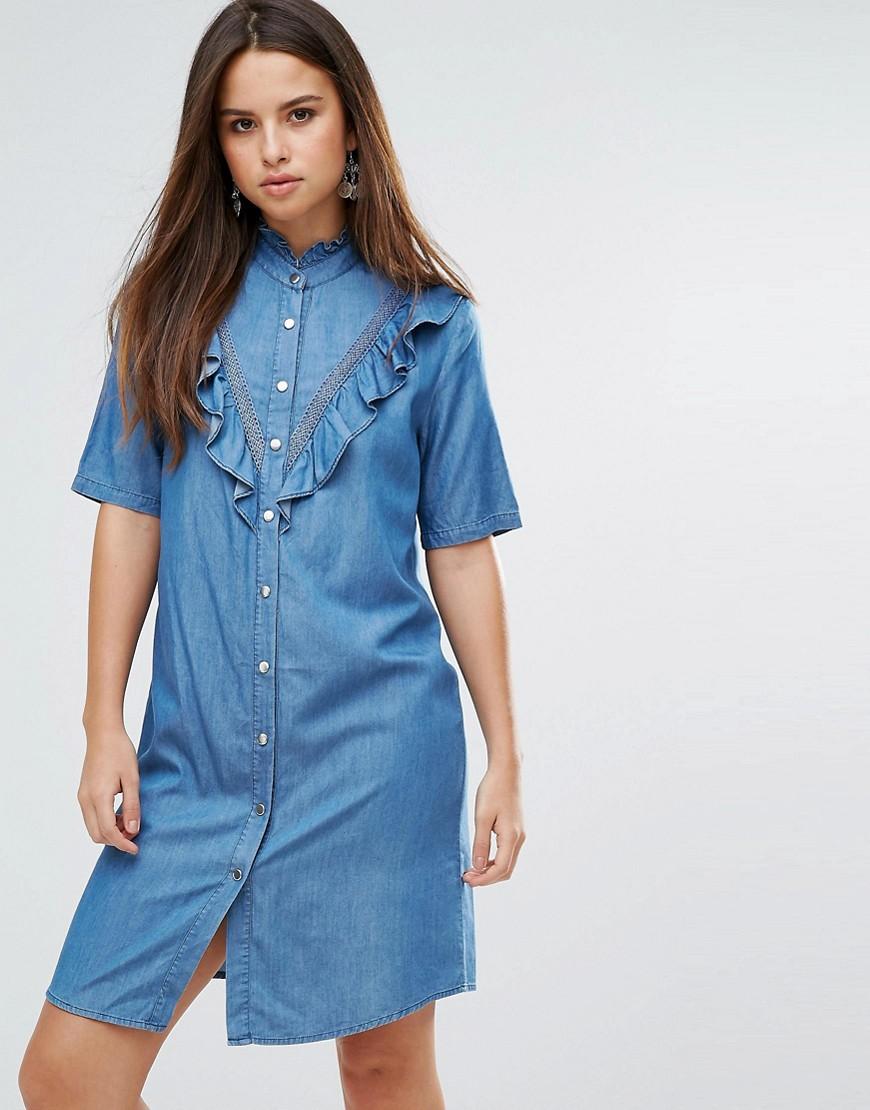 Liquoriosh Ruffle Short Sleeve Denim Shirt Dress