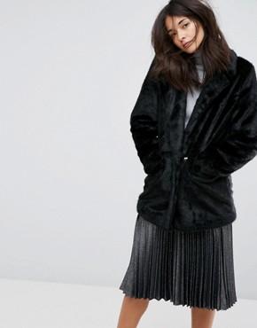 Urban Code Oversized Faux Fur Coat - Black