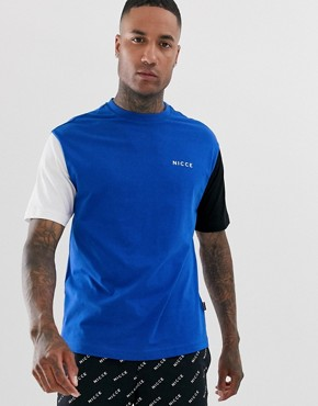 Nicce t-shirt with contrast sleeves in blue