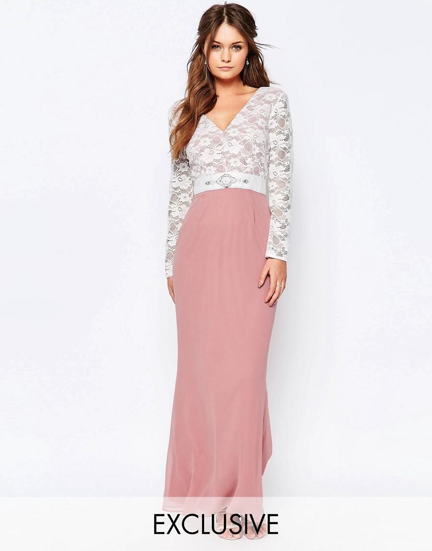 Elise Ryan Maxi Dress With Lace Bodice And Embellished Waist