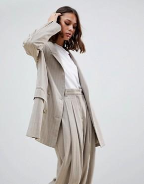 Weekday pinstripe blazer in beige - Beige