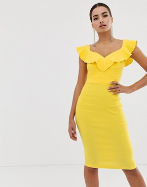 Vesper bodycon dress with sweetheart neckline with fill in yellow
