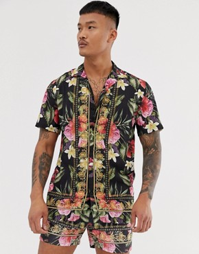 Good For Nothing co-ord revere collar shirt in floral print with baroque taping