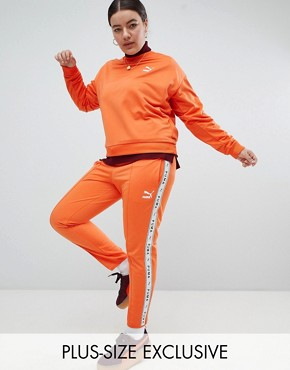 Puma Exclusive To ASOS Plus Taped Side Stripe Track Pants In Orange - Firecracker