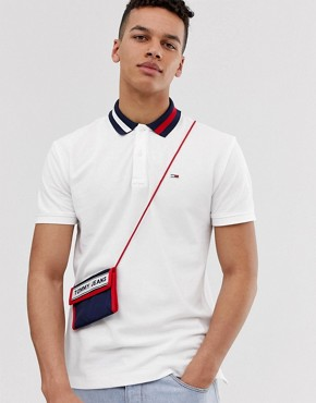 Tommy Jeans flag logo pique polo with icon flag collar in white