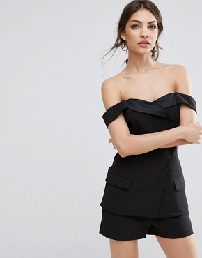 Lavish Alice Tailored Playsuit With Satin Lapel - Black