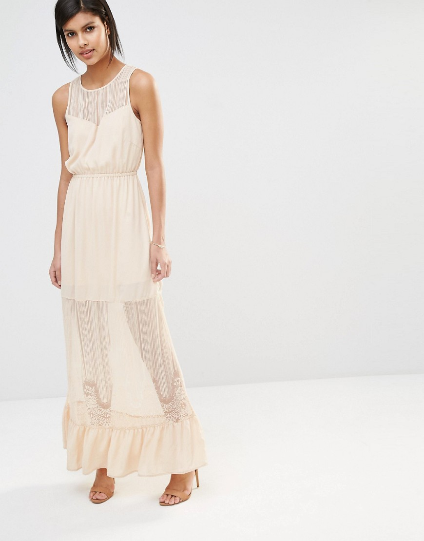 Image 1 of Vero Moda Sheer Lace Insert Maxi Dress with Ruffle Hem