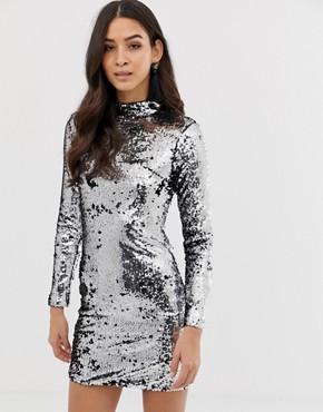Forever Unique sequin long sleeve dress