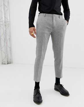 Heart & Dagger slim fit suit trouser in grey herringbone