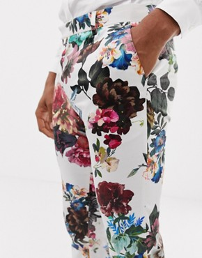 ASOS DESIGN wedding skinny suit trousers with floral print - White