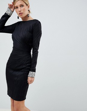 Jovani Textured Midi Dress With Encrusted Cuffs - Black