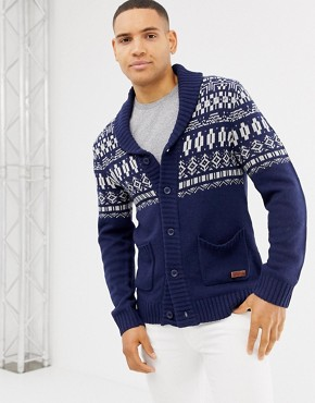 Blend shawl neck cardigan with fairisle design in blue
