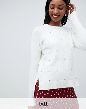 Fashion Union tall all over embellished jumper with step hem - Cream
