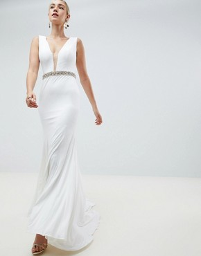 Jovani Diamante Waisted Maxi - White