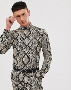 Twisted Tailor super skinny fit shirt in snake print