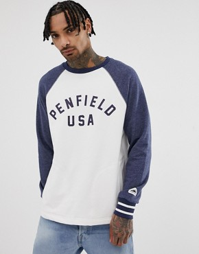 Penfield tolsona crew neck raglan sweat with chest logo and cuff tipping in white