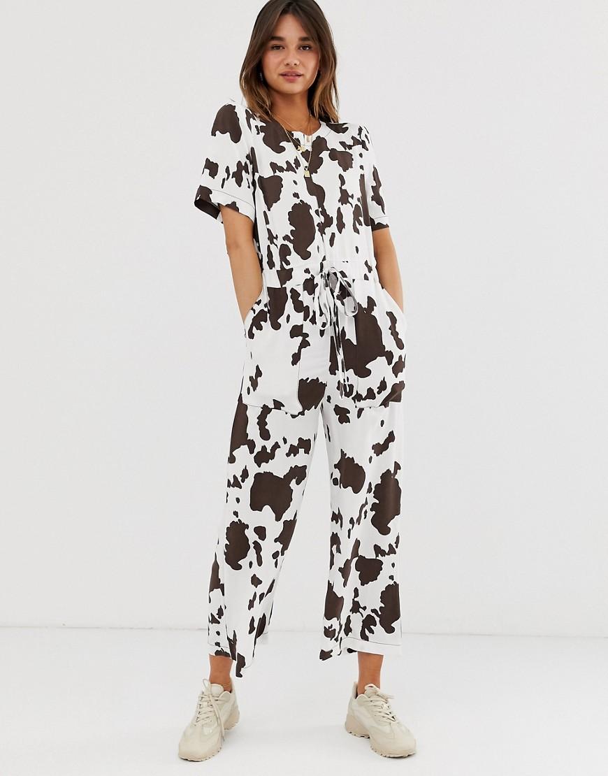 Image of Abbigliamento DESIGN - Tuta jumpsuit stile T-shirt con stampa animalier e cuciture a contrasto - Multicolore